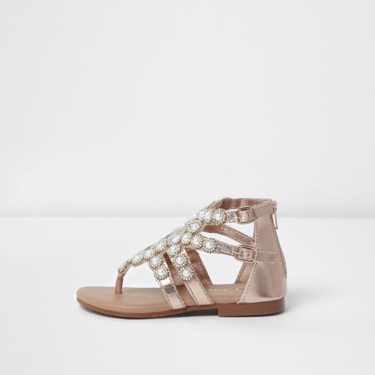 Mini girls gold jewel toe post cage sandals