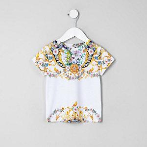 Mini - Geel T-shirt met barokke bloemenprint voor meisjes