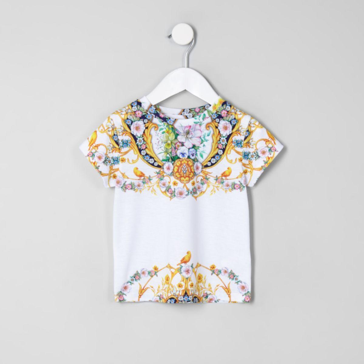 Mini girls yellow baroque floral T-shirt