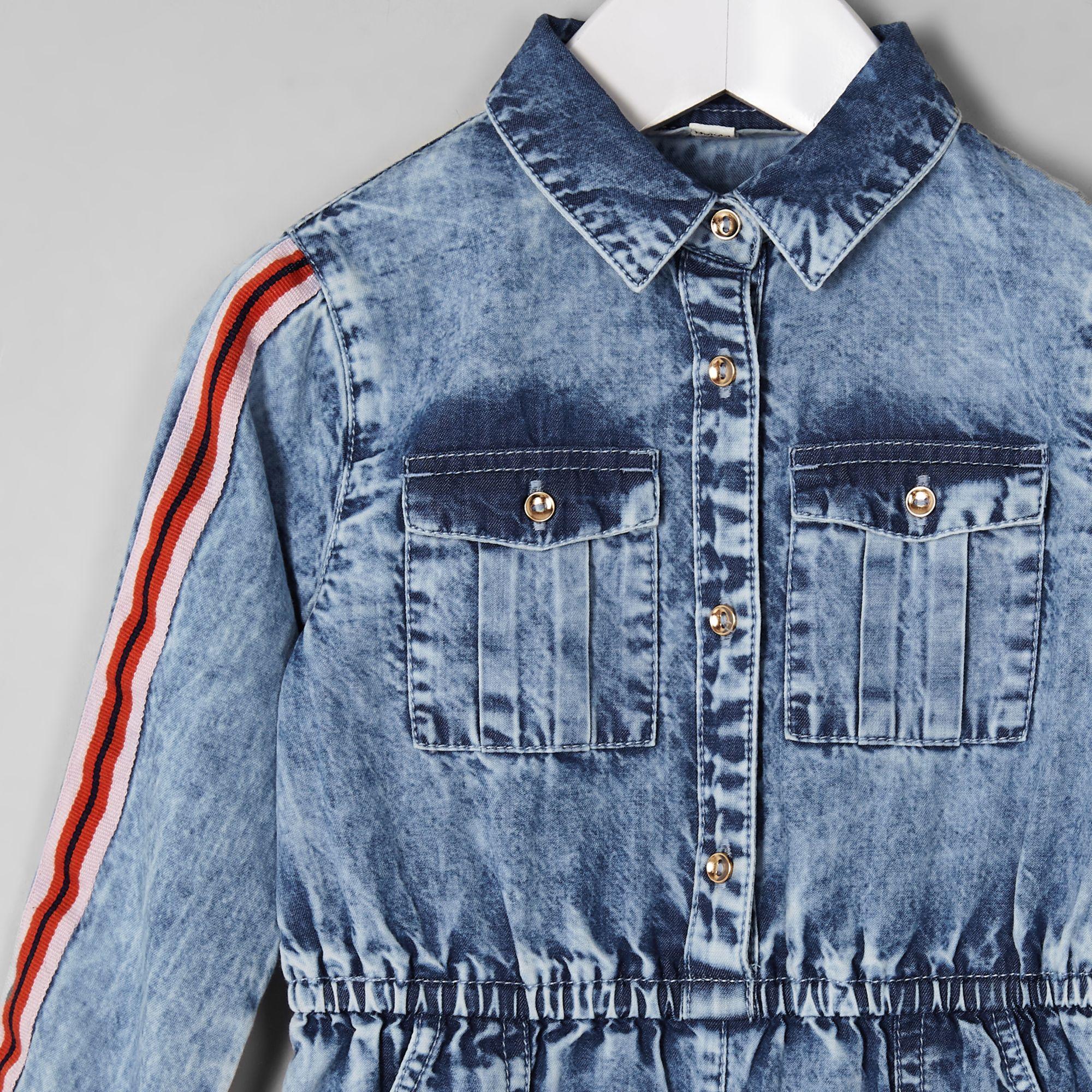 33ffe04df0a1 River Island Mini girls blue acid wash denim jumpsuit at £18
