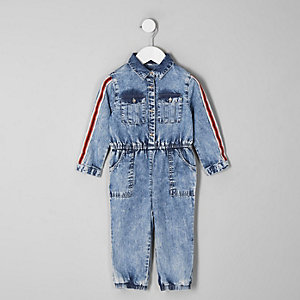 Mini girls blue acid wash denim jumpsuit