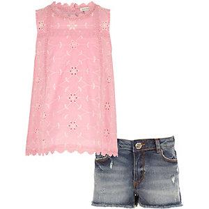 Outfit met roze top met broderie voor meisjes