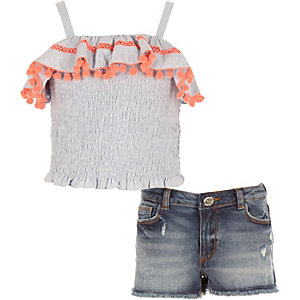 Mini girls blue pom pom trim cami top outfit