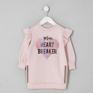 Mini girls pink 'Heart breaker' jumper dress