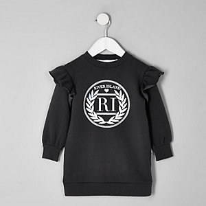 Mini girls grey RI frill sweat dress