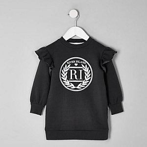 Mini - Grijze sweaterjurk met 'RI'-print voor meisjes
