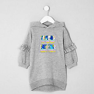 Mini girls grey 'Trend setter' sweater dress