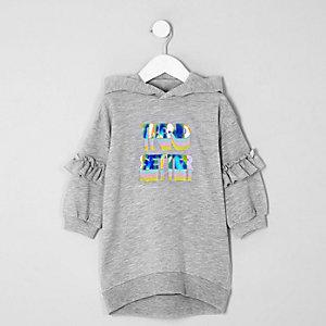 Mini - Grijze trui-jurk met 'Trend setter'-print voor meisjes