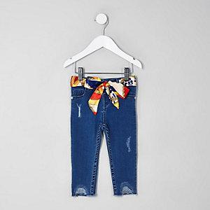 Mini girls blue Amelie scarf skinny jeans