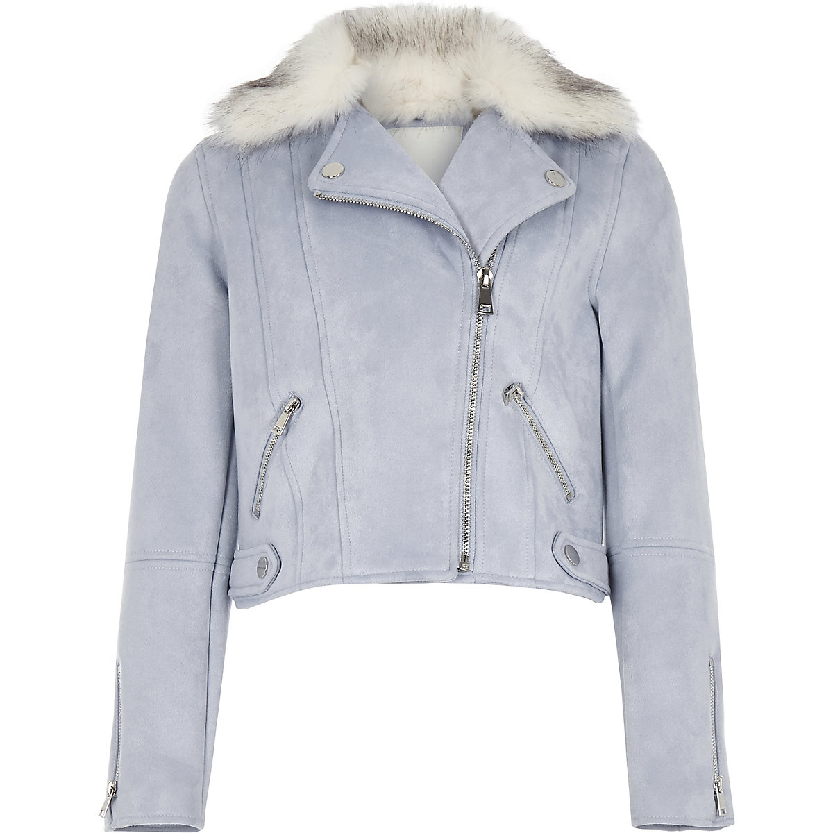 Girls blue faux suede fur biker jacket