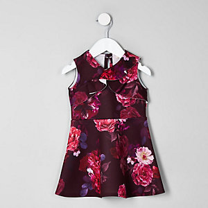 Mini girls purple floral skater dress