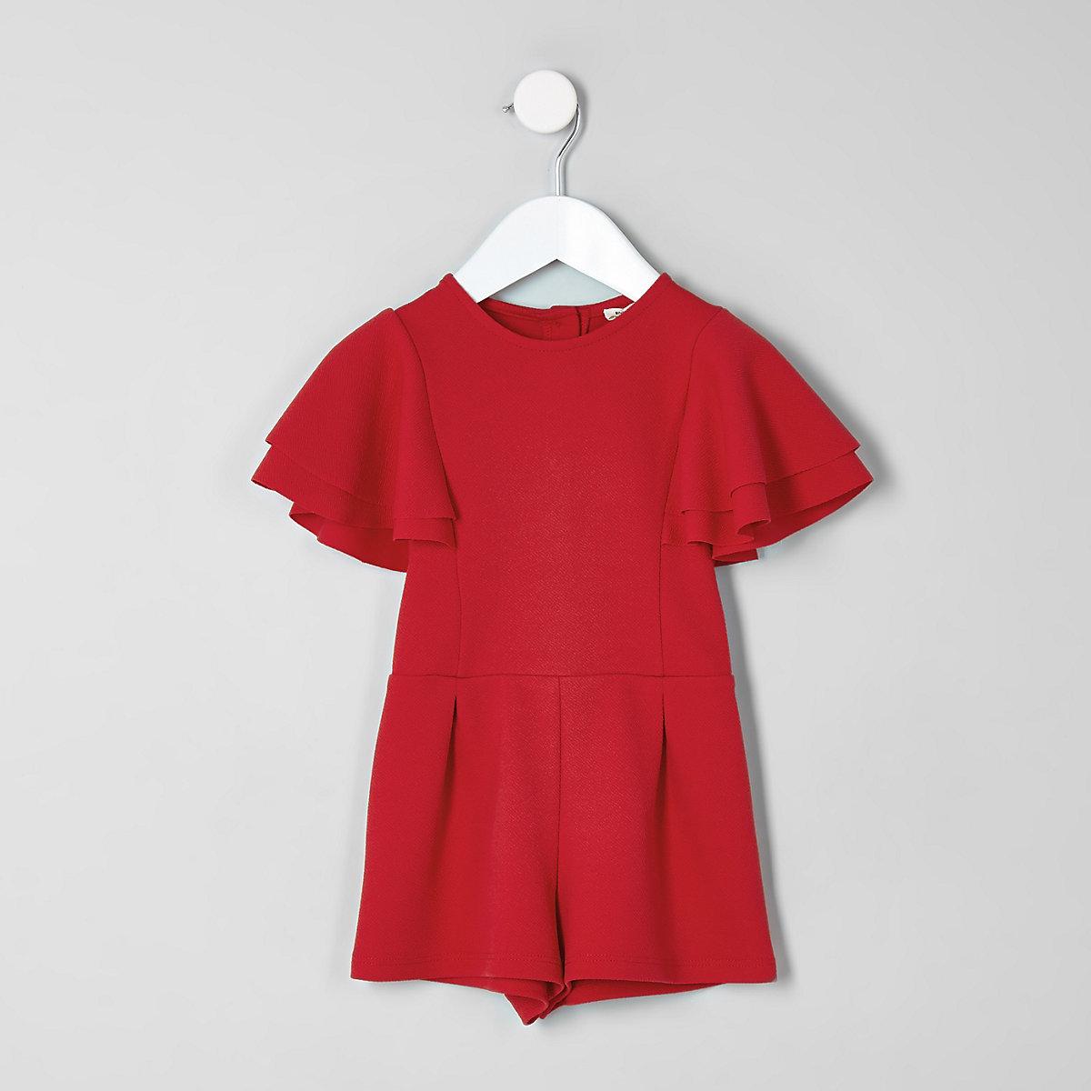 Mini girls red frill sleeve romper