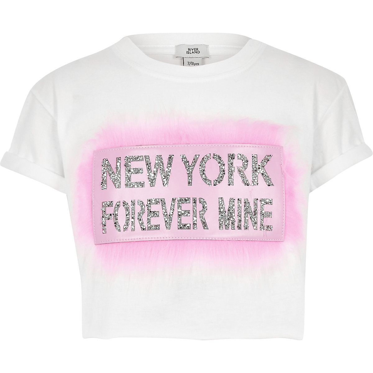 Girls white fluffy 'New York' cropped T-shirt