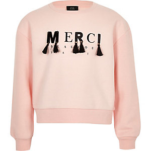 Girls light pink 'merci' slouch sweatshirt