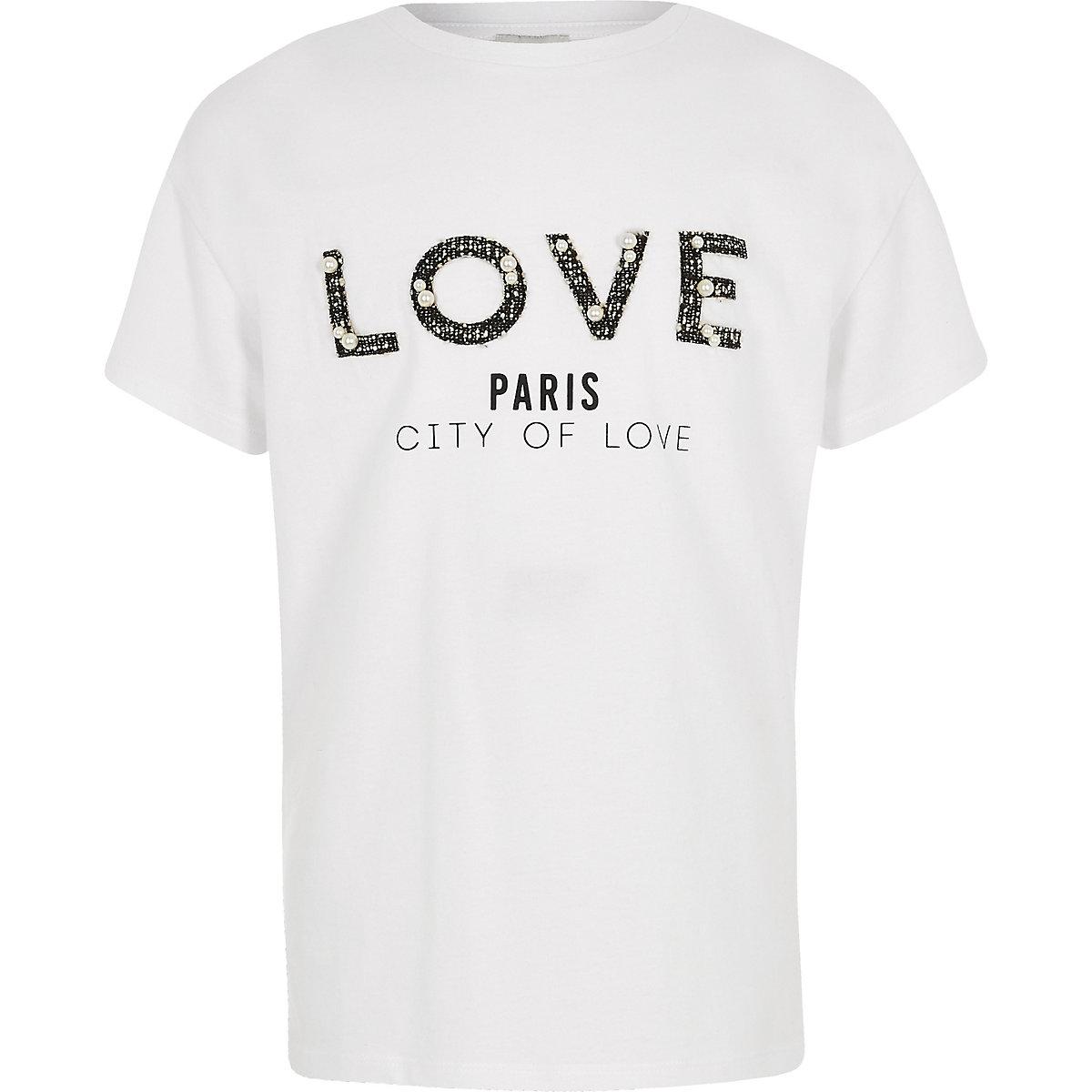 Girls white 'love' boucle print T-shirt