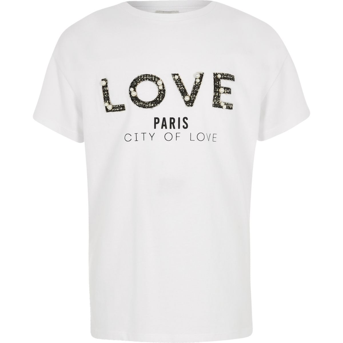 Girls white 'love' boucle print T-shirt