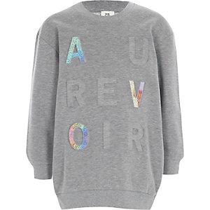 Grijs sweatshirt met 'au revoir'-glitterfolieprint