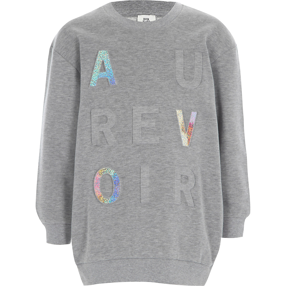 Grey 'au revoir' glitter foil sweatshirt