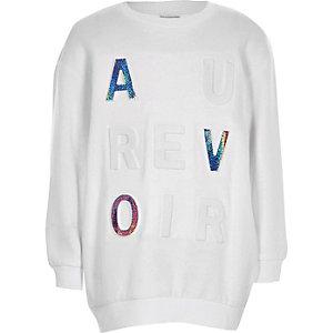 Girls white 'Au revoir' foil sweatshirt