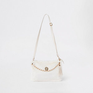 Girls faux fur cream cross body bag