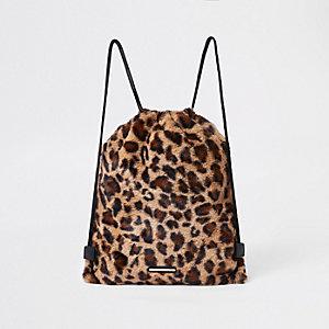 Sac à dos imprimé léopard marron à cordon de serrage pour fille