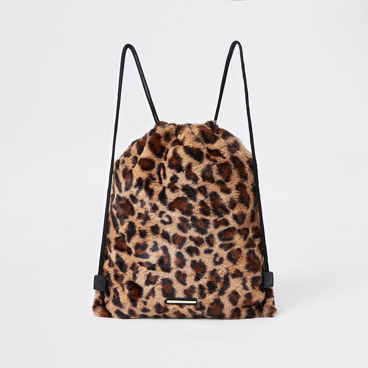 Girls brown leopard print drawstring backpack