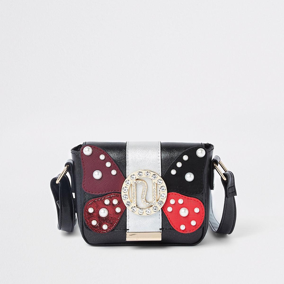 Girls butterfly RI embellished cross body bag