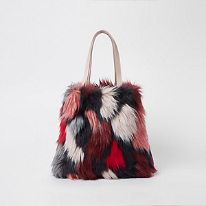 Pink crazy fur shopper bag