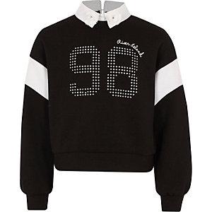 Zwart sweatshirt met verfraaide kraag voor meisjes