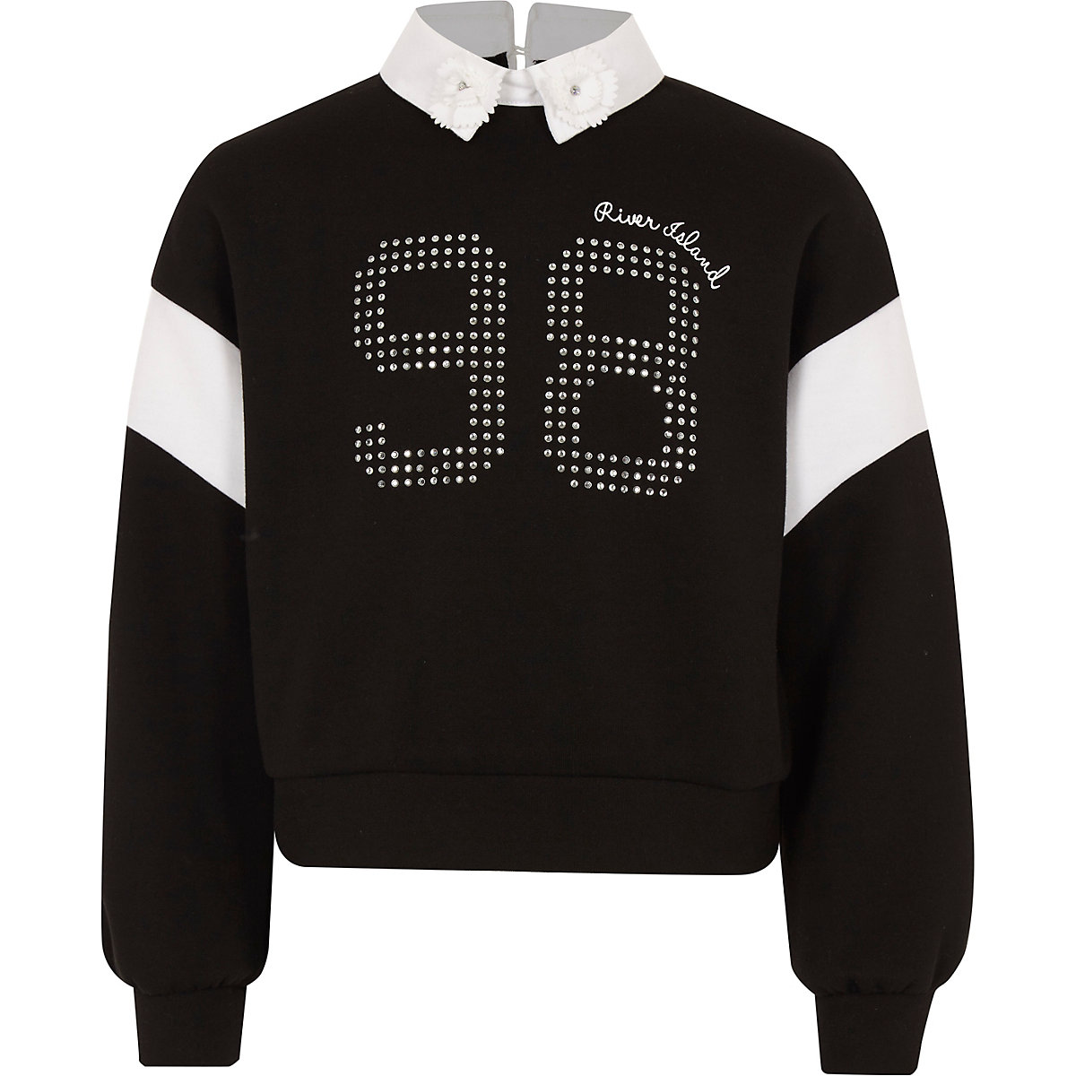 Girls black embellished collar sweatshirt