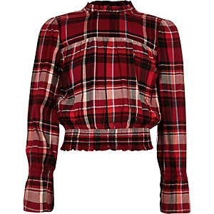Girls red check shirred hem frill neck top