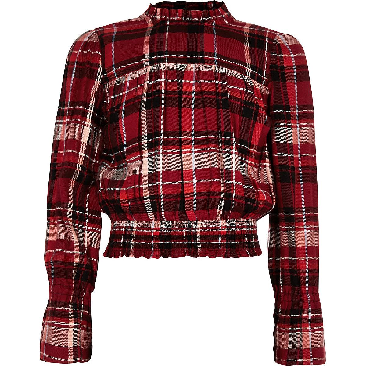 Girls red check shirred hem frill neck top