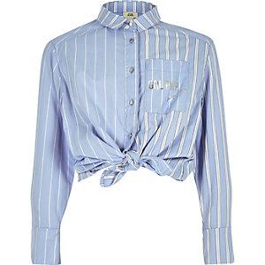 Blauw gestreept overhemd met strik en knopen voor meisjes