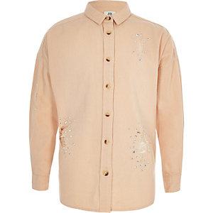 Lichtroze verfraaid overhemd voor meisjes