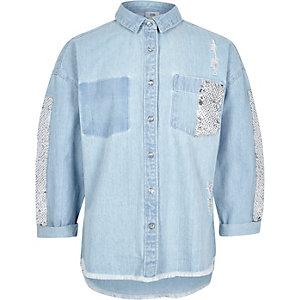 Veste-chemise en jean bleue à sequins pour fille