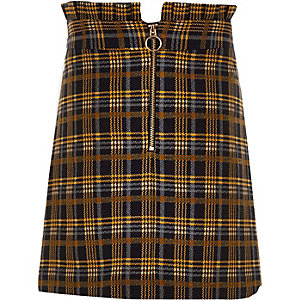 Girls navy check paperbag waist skirt