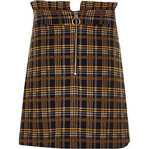 Girls navy check paperbag waist skirt