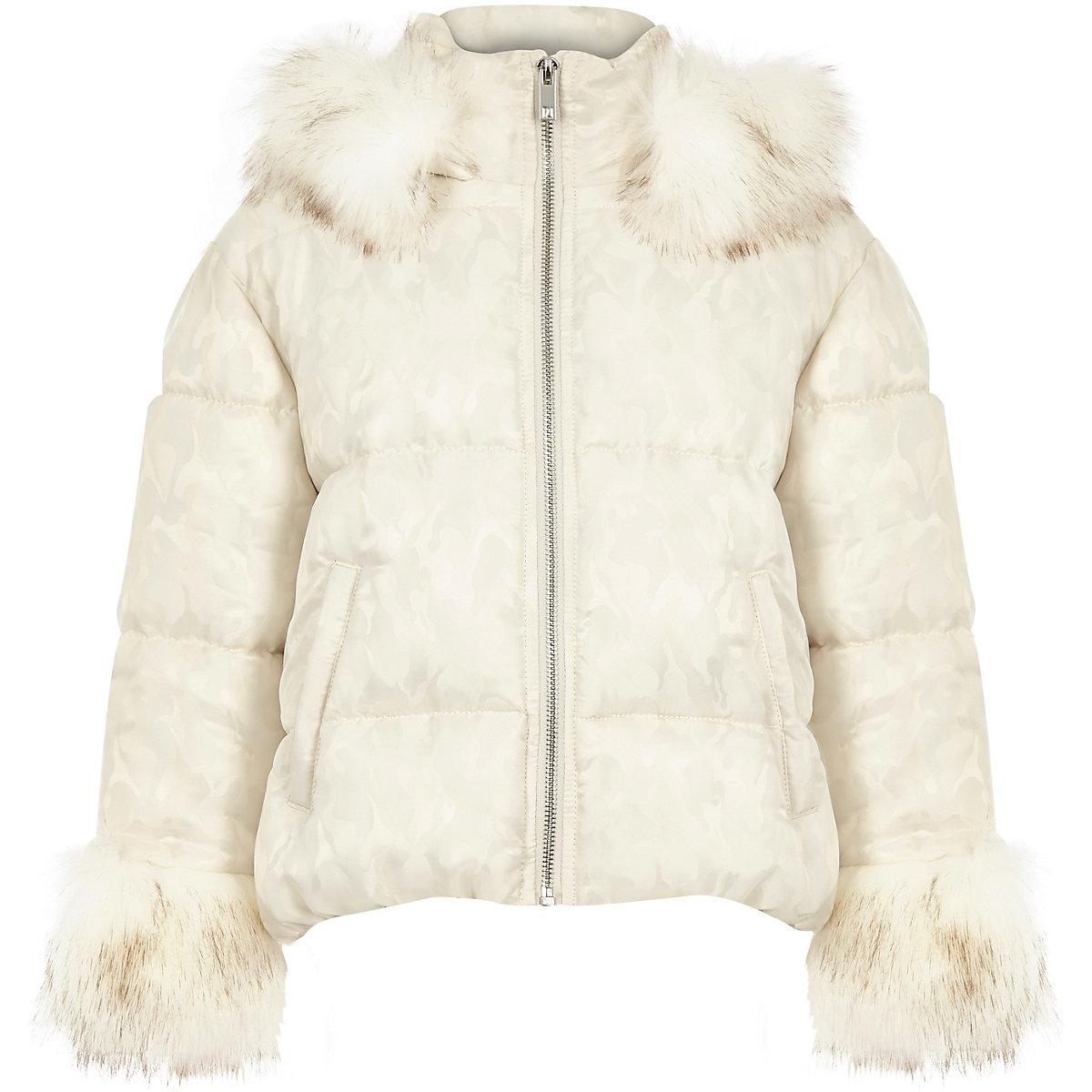 Girls white camo faux fur puffer jacket