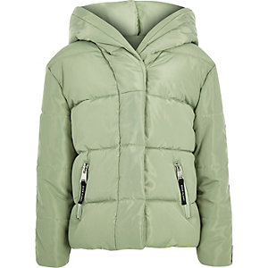 Girls green RI tape hooded puffer jacket
