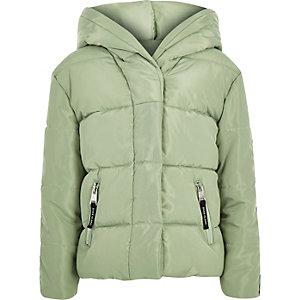 Doudoune à capuche verte avec bandes à logo RI pour fille
