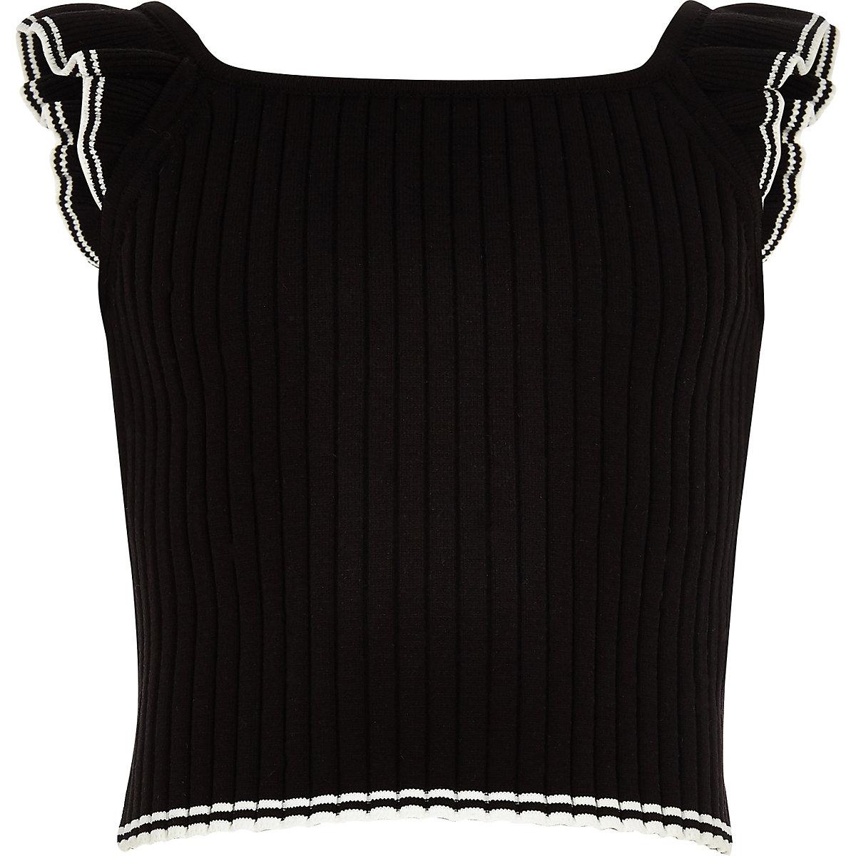 Girls black ribbed frill sleeve top