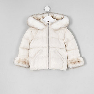 Mini girls white faux fur padded coat