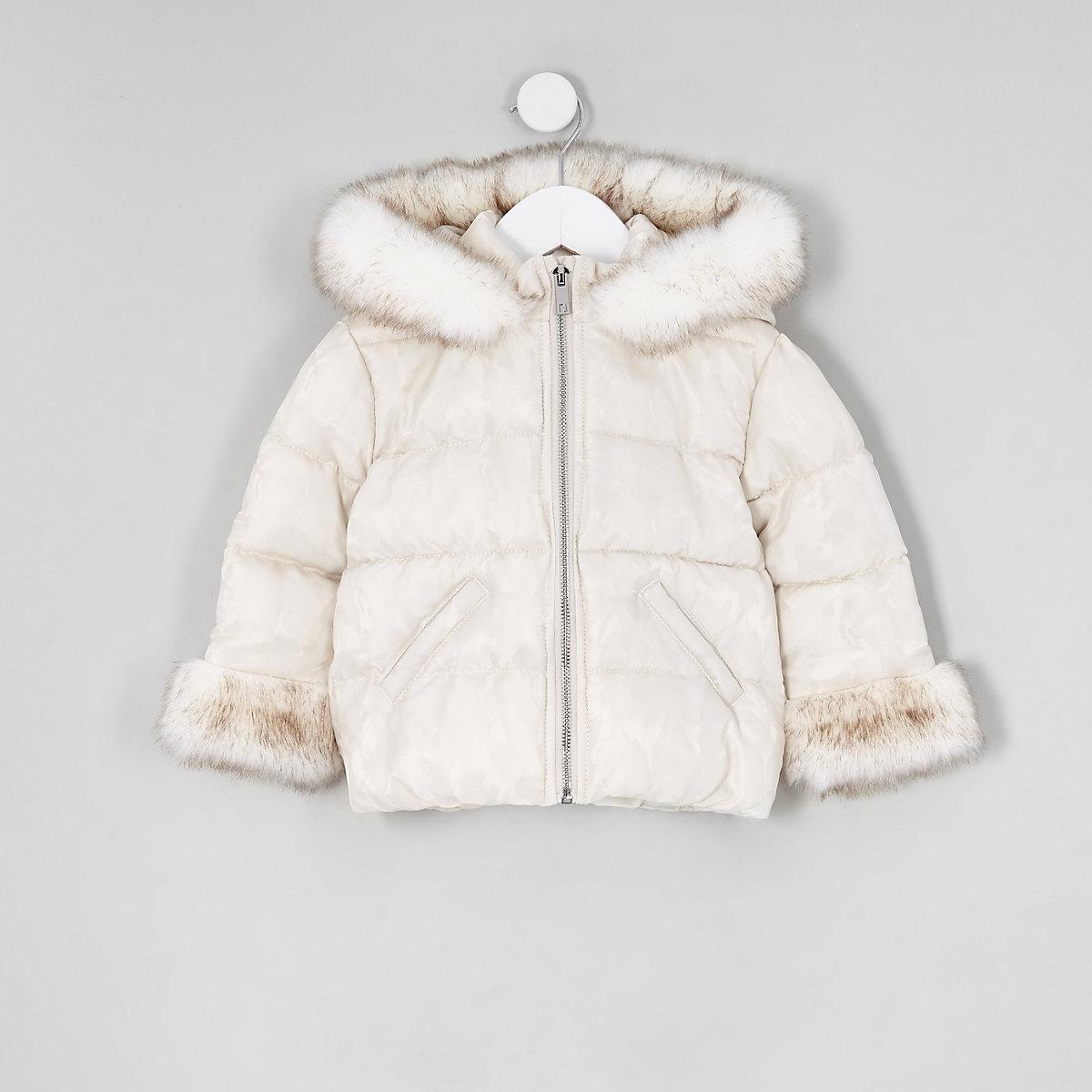 Mini girls white faux fur padded coat