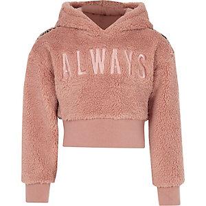 Sweat à capuche imitation mouton «always» rose pour fille