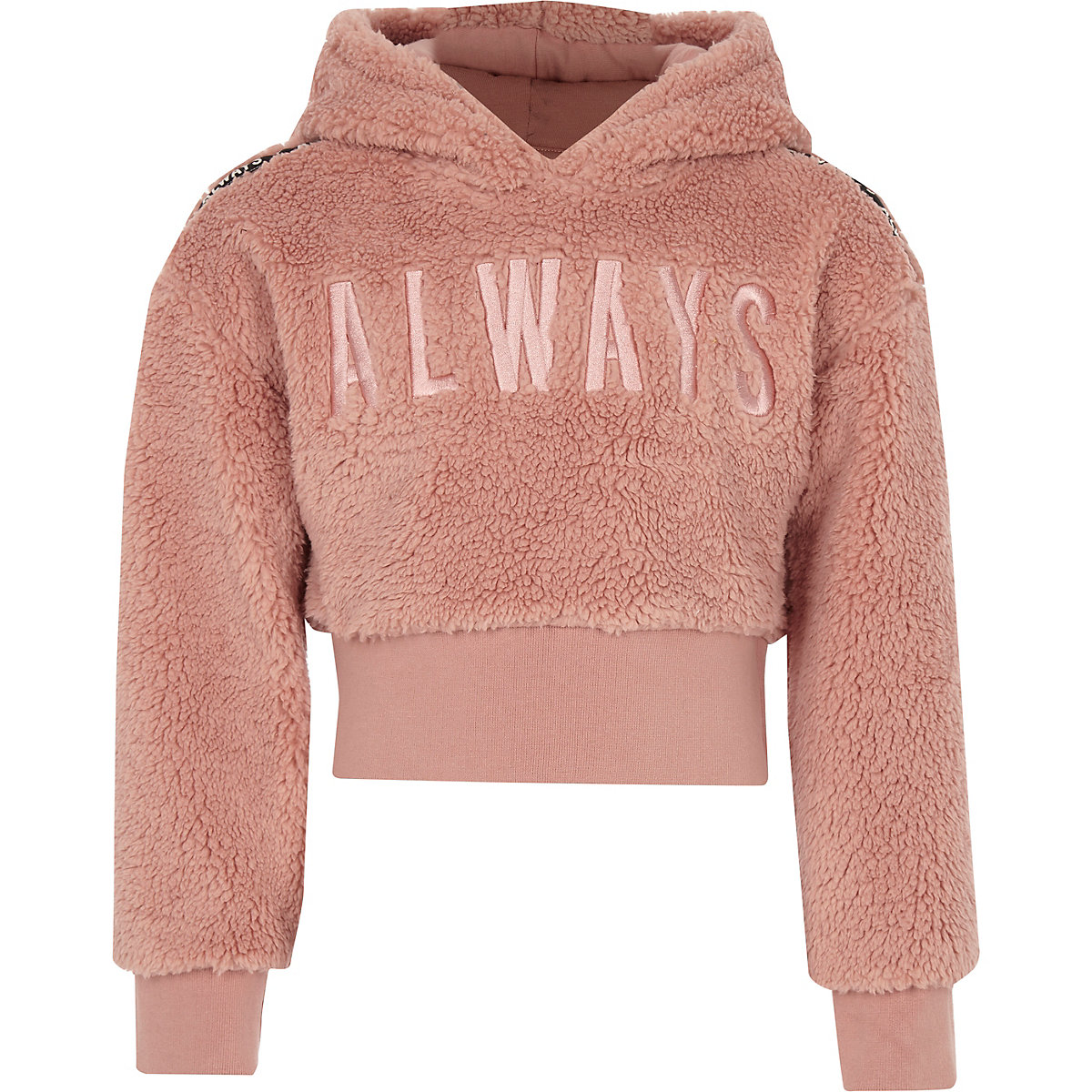 Girls pink 'always' borg fleece hoodie