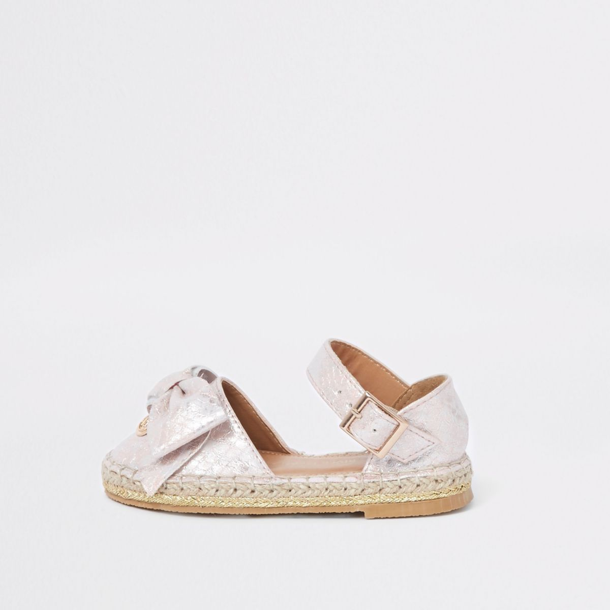 Mini girls pink snake bow espadrille sandals
