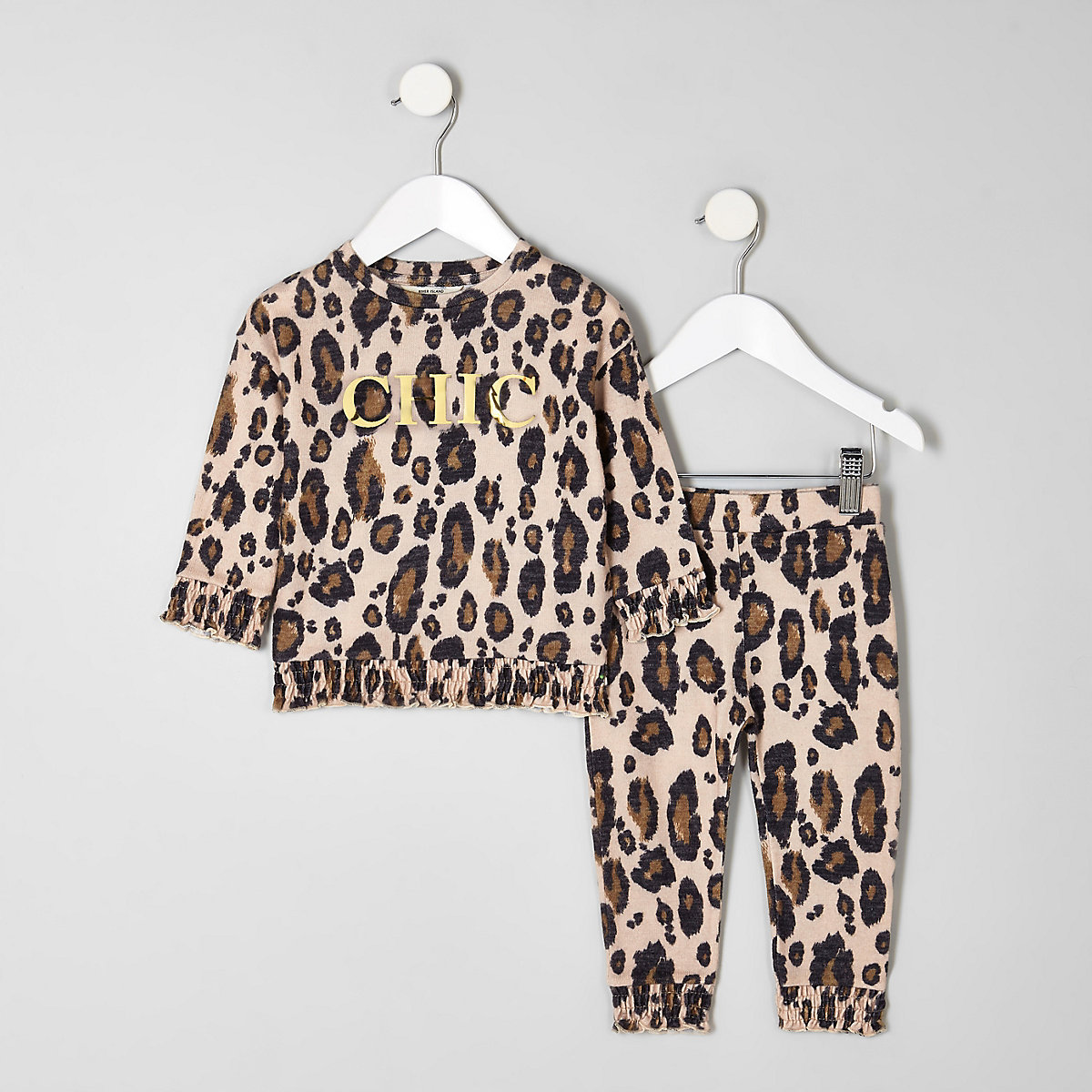 Mini girls leopard print 'Chic' jogger outfit