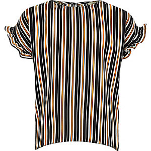 Girls navy stripe frill sleeve T-shirt