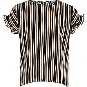T-shirt rayé bleu marine à volants pour fille