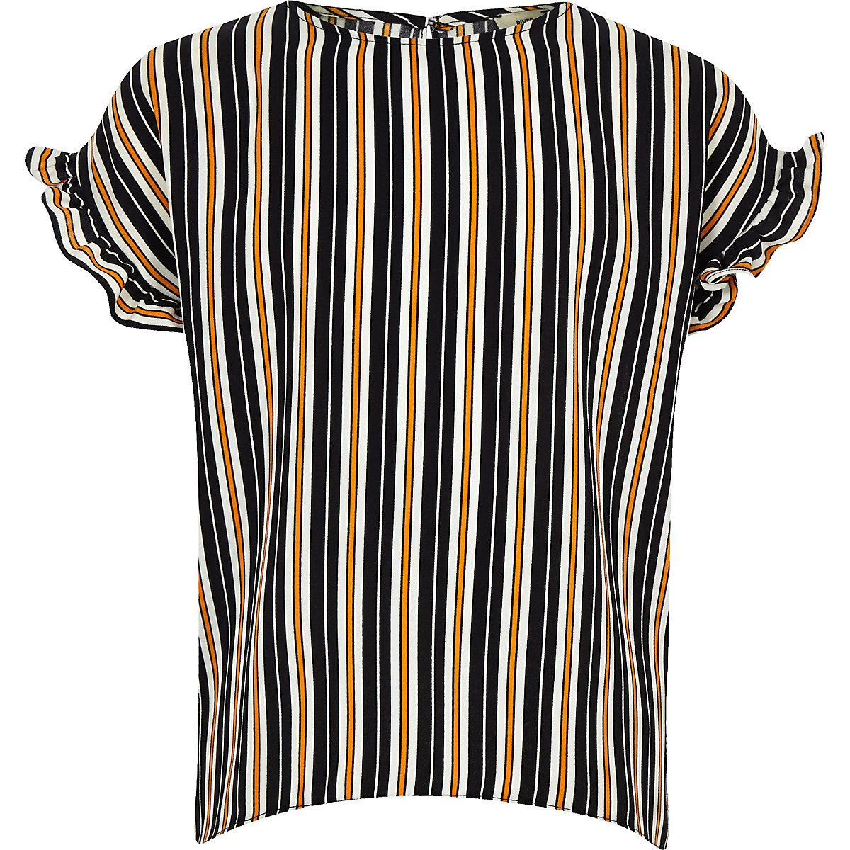 Girls navy stripe frill sleeve T-shirt